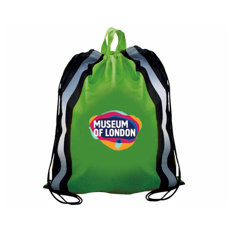 Non-Woven Reflective Drawstring Backpack, Full Color Digital