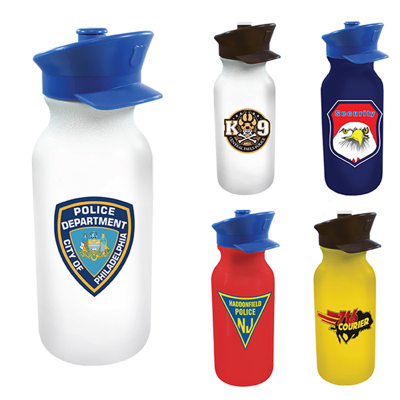 20 oz. Value Cycle Bottle with Police Hat Push 'n Pull Cap, Full Color Digital
