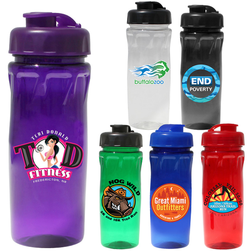 18 oz. Poly-Saver PET Bottle with Flip Top Cap, Full Color Digital