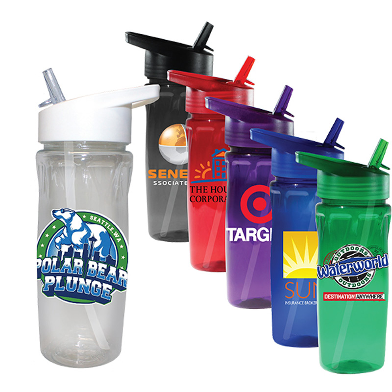 18 oz. Poly-Saver PET Bottle with Straw Cap, Full Color Digital