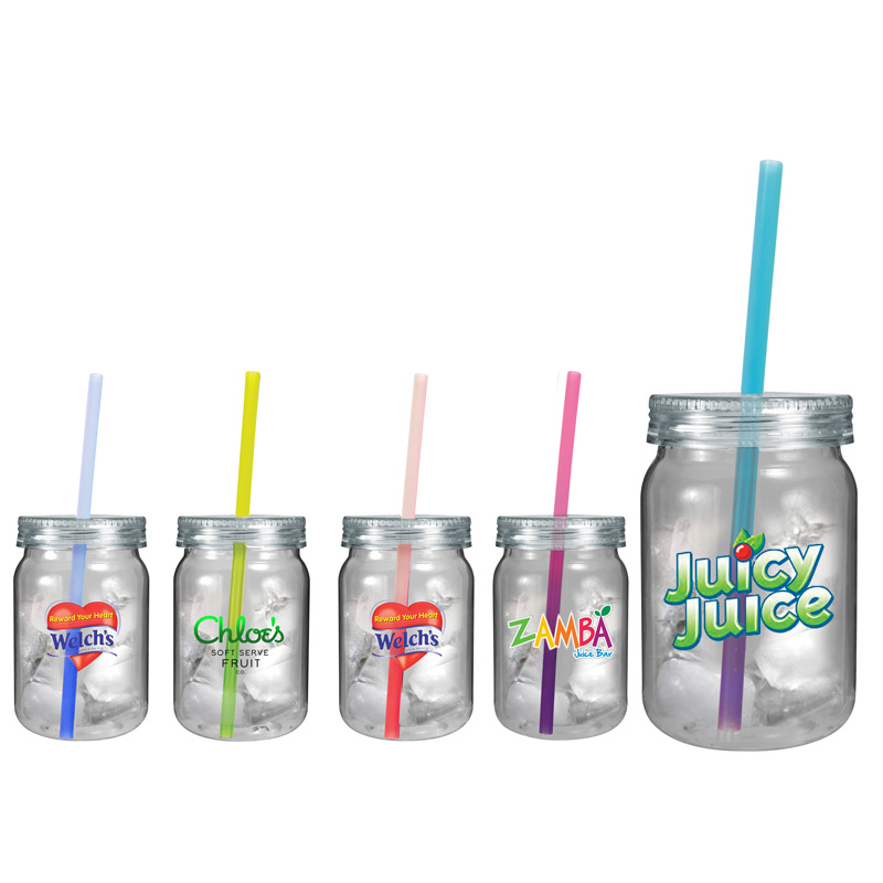 24 oz. Plastic Mason Jar with Mood Straw, Full Color Digital