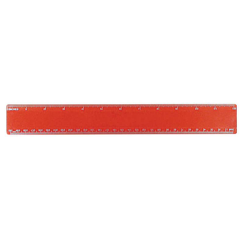 "12"" Beveled Plastic Ruler, Full Color Digital"