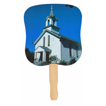 Stock Design Hand Fan-White Church