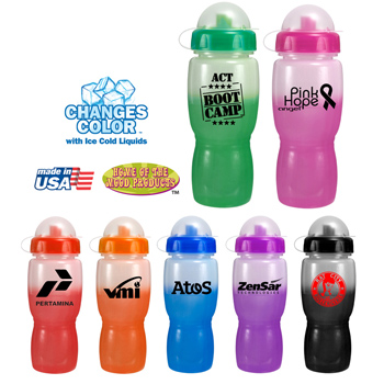 18 oz. Mood Poly-Saver Mate Bottle with Push 'n Pull Cap and Dome Lid