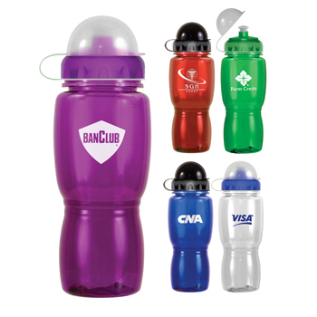 18 oz. Poly-Saver Mate Bottle with Push 'n Pull Cap & Dome Lid