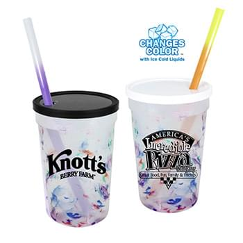 22 oz. Rainbow Confetti Mood Cup/Straw/Lid Set