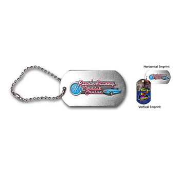 "Dog tag , 4-1/2"" ball chain with full color digital imprinting"