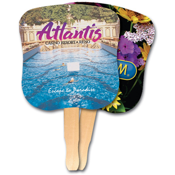 Hourglass Shape Hand Fan, Full Color Digital