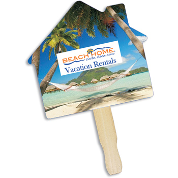 House Shape Hand Fan, Full Color Digital