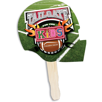 Football Shape Hand Fan, Full Color Digital