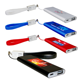 Flat Power Bank With Cable, Full Color Digital