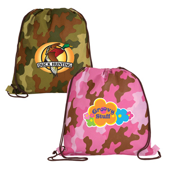 Non-Woven Camo Drawstring Backpack, Full Color Digital