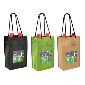 Non-woven Double Bottle Wine Bag, Full Color Digital