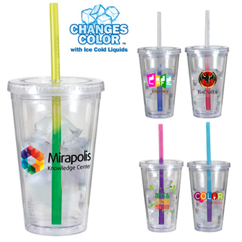 16 Oz. Victory Acrylic Tumbler With Mood Straw, Full Color Digital