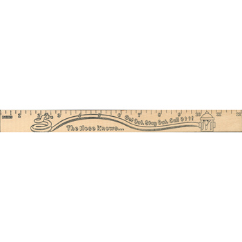 "Get Out/stay Out  ""u"" Color Rulers - Natural Wood Finish"