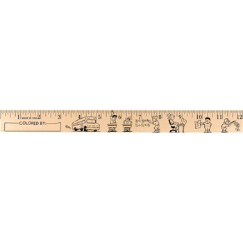 "Kids at School ""U"" Color Rulers - Natural wood finish"