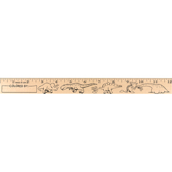 "Dinosaurs ""U"" Color Rulers - Natural wood finish"