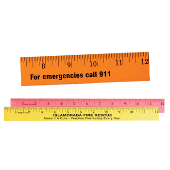 "12"" Fluorescent Wood Ruler - English Scale"